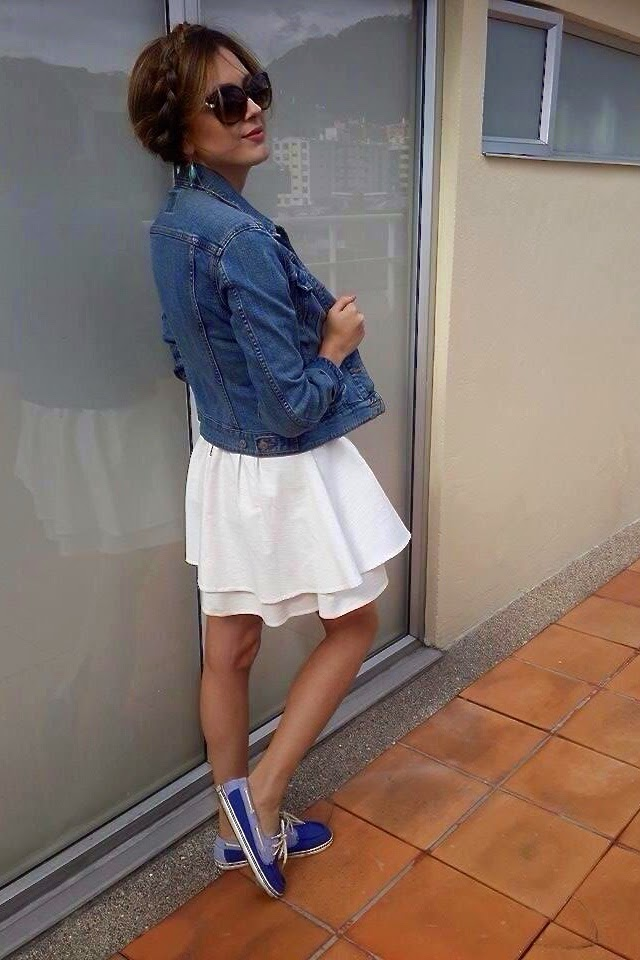 white dress jean jacket