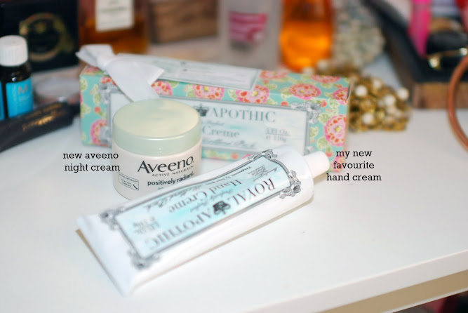 Aveeno Night Cream and Royal Apothic Hand Cream