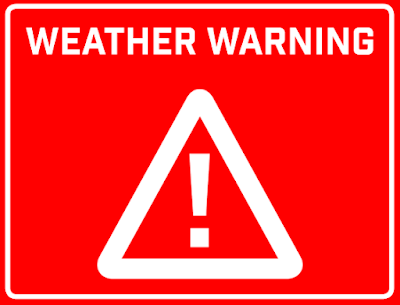 White-against-red-background: Exclamation point inside triangle, with letters above it, reading 'Weather Warning'