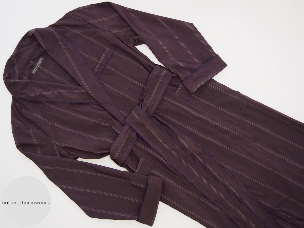 Lightweight Dressing Gown in Striped Burgundy Purple Silk for Men