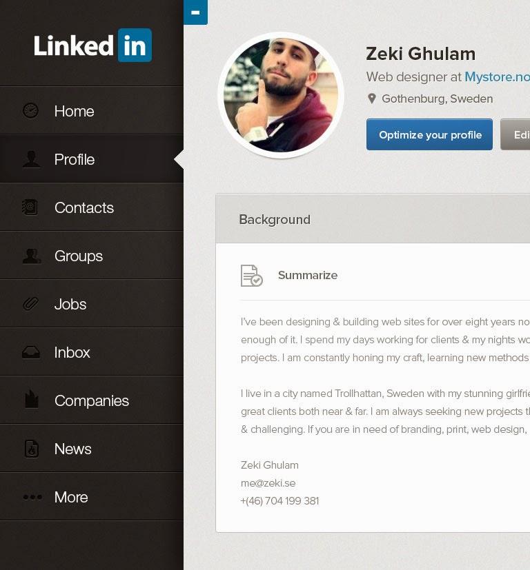 LinkedIn iPad re-design