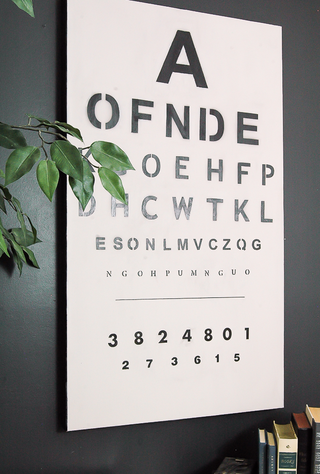 Old artwork turned vintage eye chart.