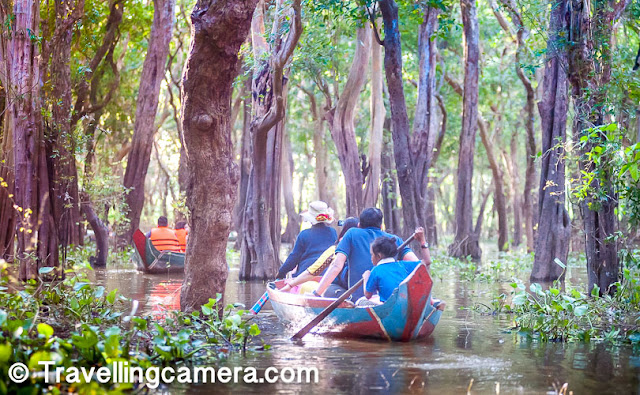 We visited the Kampong Phluk floating village. During this tour, you have an option of taking a boat ride through flooded mangrove forests. The ride costs 5 USD per person. On each boat two adults (excluding the boat rower) are allowed.