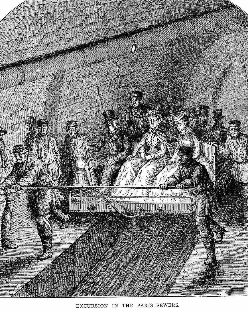 Excursion in the Paris sewers 1800, people paid to tour the massive underground system, an illustration