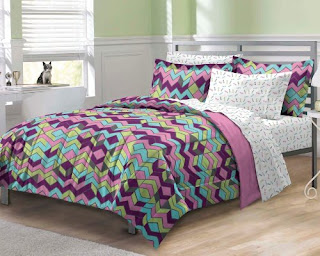 purple teal pink and green chevron bedding