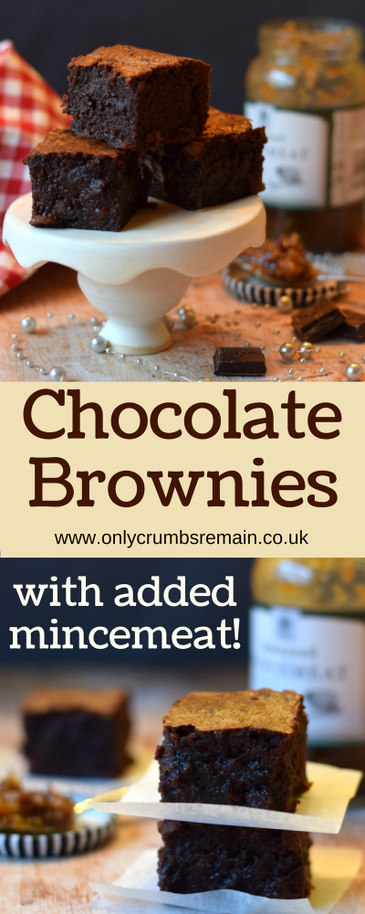 A Chocolate Brownie recipe with the added moisture and texture from mincemeat.  They're perfect for a Christmas treat or to use up that half a jar of sweet fruit mincemeat lurking in the fridge.