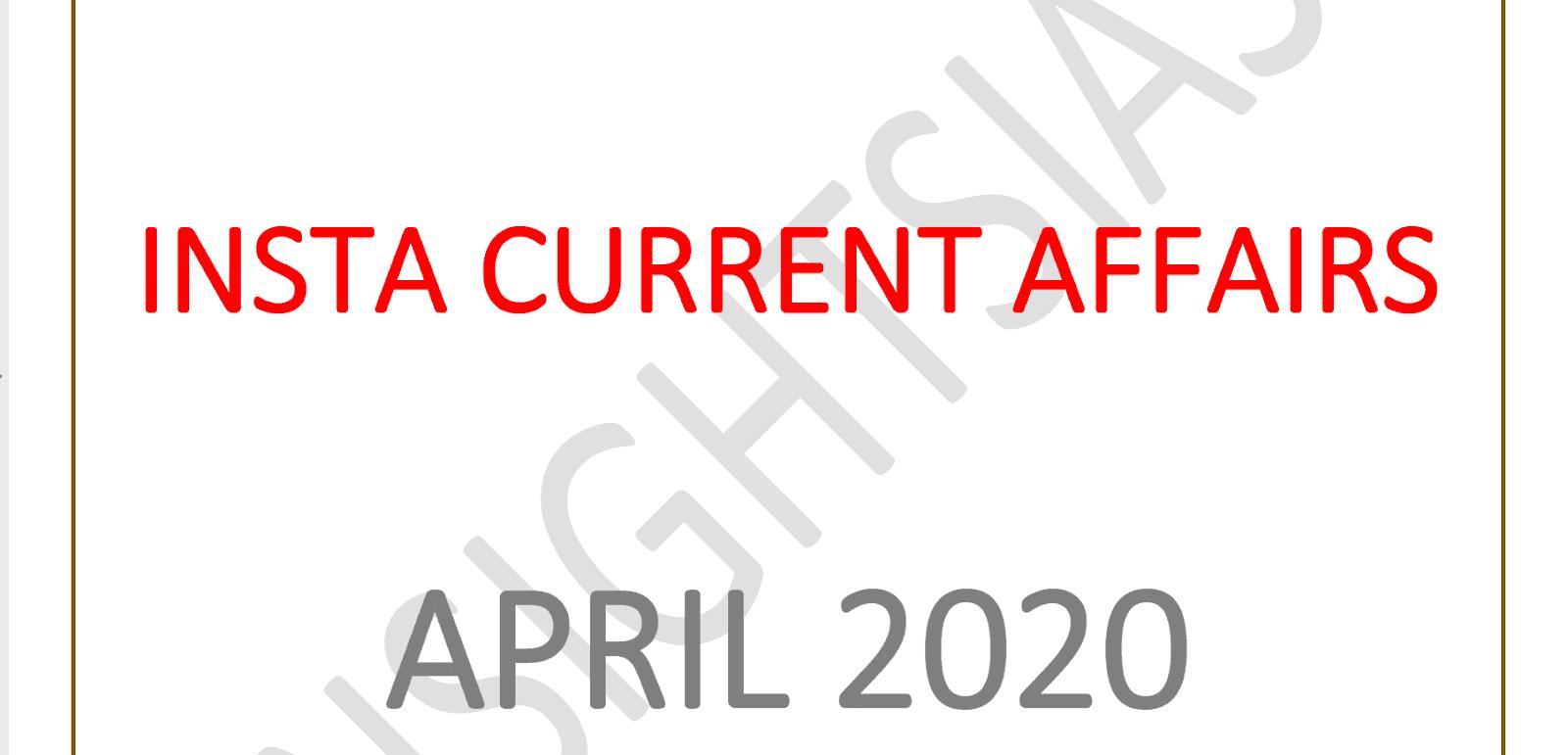 InsightsIAS Current Affairs April 2020