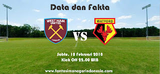 Data dan Fakta Fantasay Premier League GW 27 West Ham vs Watford FC Fantasi manager Indonesia