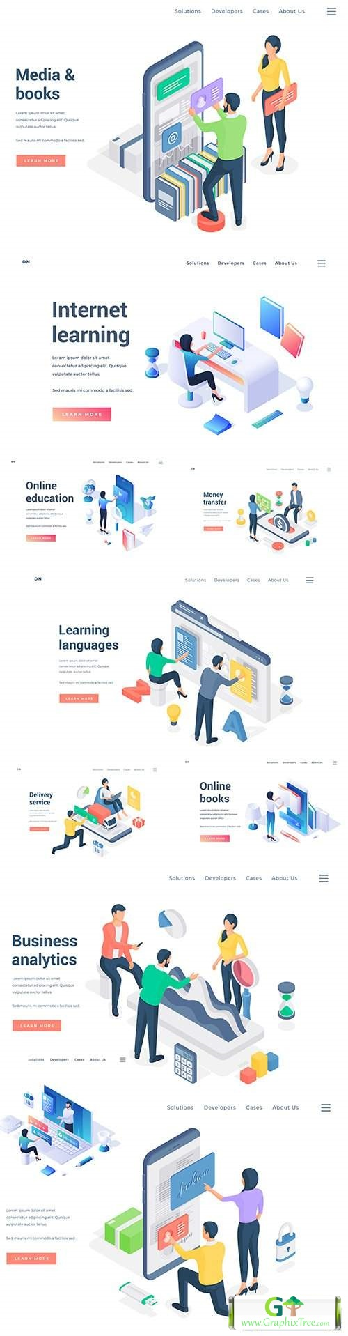 People business and analytics strategy workplace element isometric