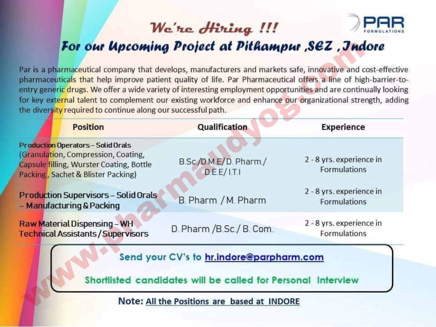 PAR formulations | Hiring for Pitampur new plant | Indore