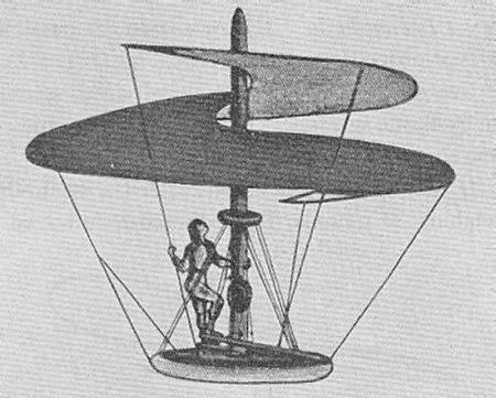 Reprodução moderna do desenho do helicóptero de DaVinci - A modern redrawing of DaVinci's helicopter
