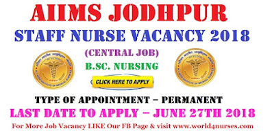 AIIMS Jodhpur 127 Staff Nurse Vacancy 2018 (Central Job)