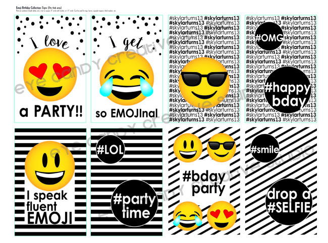 emoji party signs, black & white party, emojis, emoji birthday signs