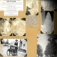 A page from the Taylor scrapbook showing photographs of an organ grinder and an ice geyser from a broken water main.