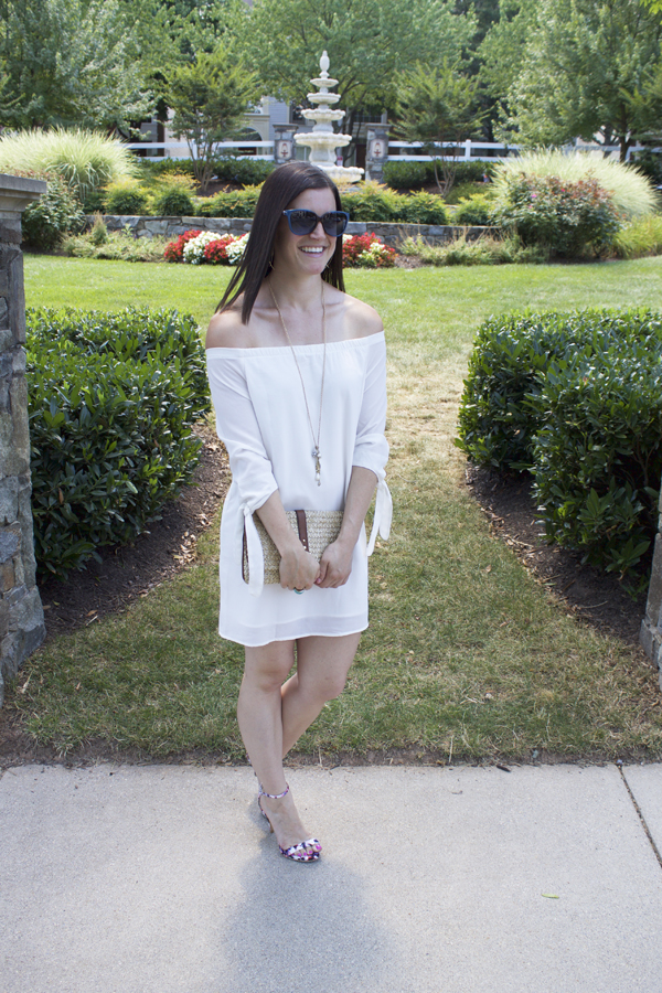 White dress, Tobi white dress, off the shoulder dress, Naturally Me, off the shoulder, Tobi, summer dress, floral sandals, floral heels, express heels, Michael Kors sunglasses, straw clutch, gold accessories