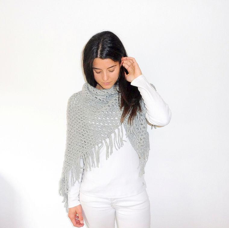 PUNTXET Chal de ganchillo con flecos #crochet #ganchillo #knit #punto #handmade #etsy