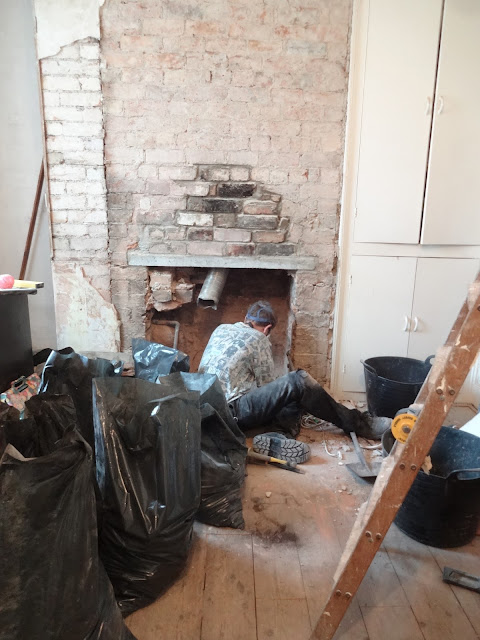 chimney opening progress for log burner