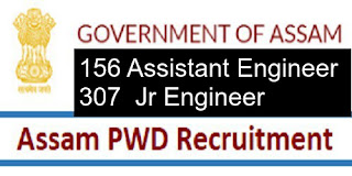PWD ASSAM  Recruitment 2018, Application Form, 156 Assistant Engineer ,307  Jr Engineer Posts