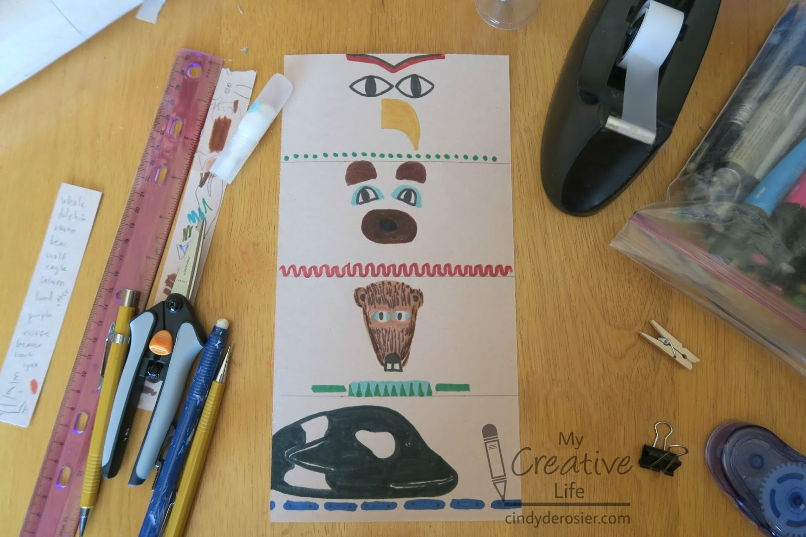 Totem poles are family histories carved from trees. Cindy Derosier My Creative Life Cardboard Tube Totem Pole Craft