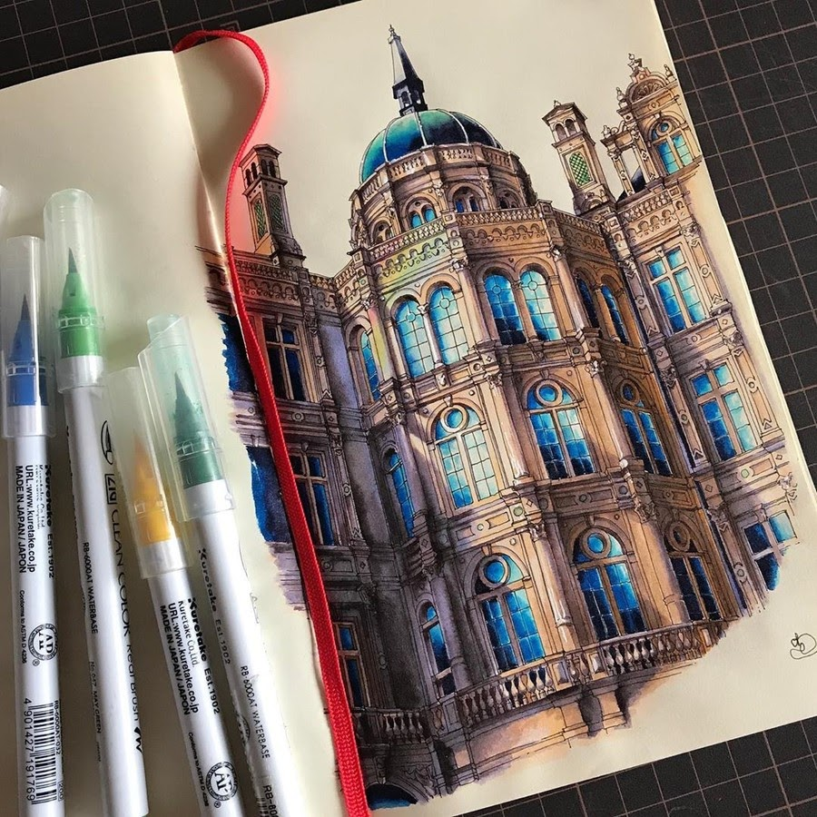 15-Schwerin-castle-Rihiko-Architectural-Travel-Drawings-and-Painting-www-designstack-co
