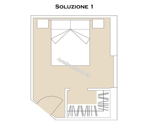 Progetto di una cabina armadio angolare in camera da letto