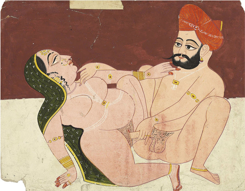 Lady Engaged in Lovemaking with Her Lover - Rajput Painting, Probably Marwar, Late 18th Century