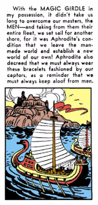 All-Star Comics (1940) #8 Page 61 Panel 5: Hippolyta reviews the story of how the Amazons came to be on Paradise Island, from her Magic Girdle to her Amazon bracelets.
