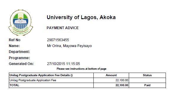 Unilag postgraduate study