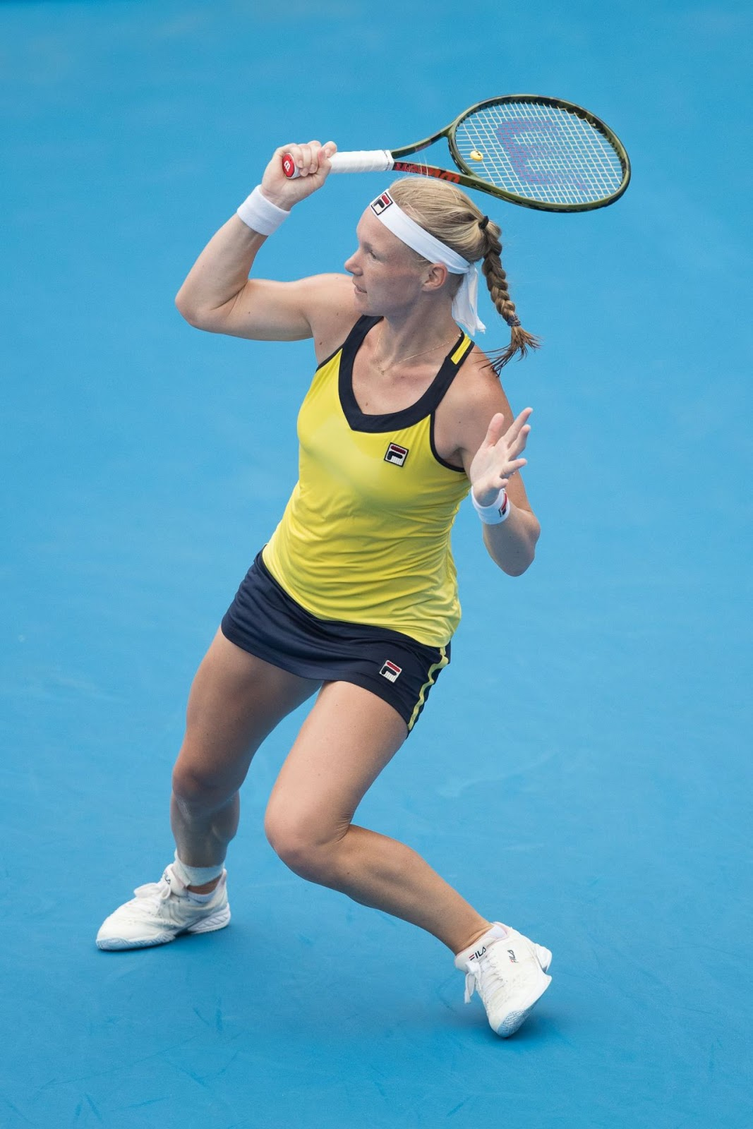 Kiki Bertens In Yellow Dress At 2019 Sydney International