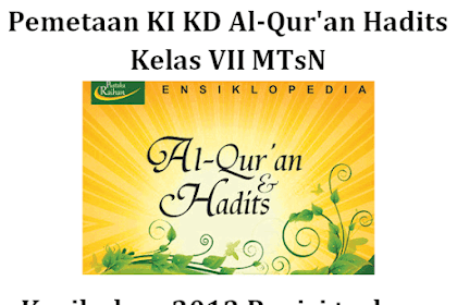 Pemetaan KI KD Al-Qur'an Hadits Kelas VII MTsN