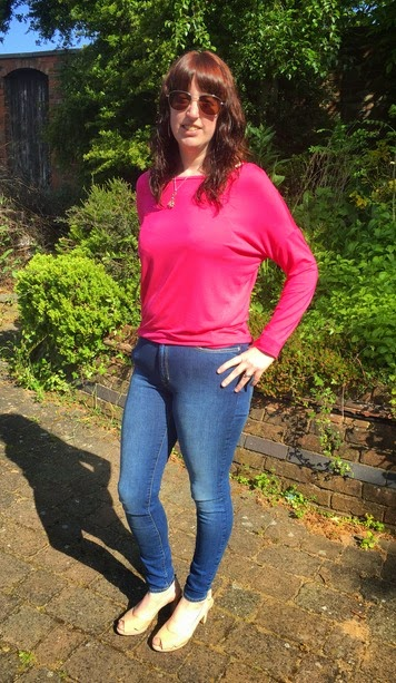 Morgan's Milieu | Magic Jeans!: Morgan Prince wearing Pink top from Tesco, Mango Jeans and Clarks slingbacks