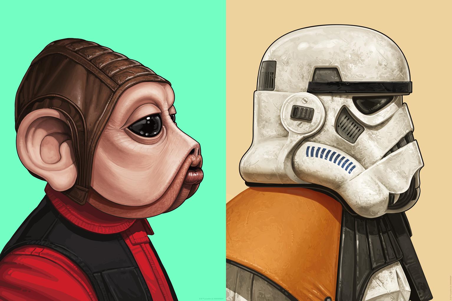 promo code 115b8 b9729 Star Wars Nien Nunb   Sandtrooper Portrait Prints by Mike Mitchell x Mondo