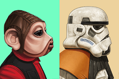 Star Wars Nien Nunb & Sandtrooper Portrait Prints by Mike Mitchell x Mondo