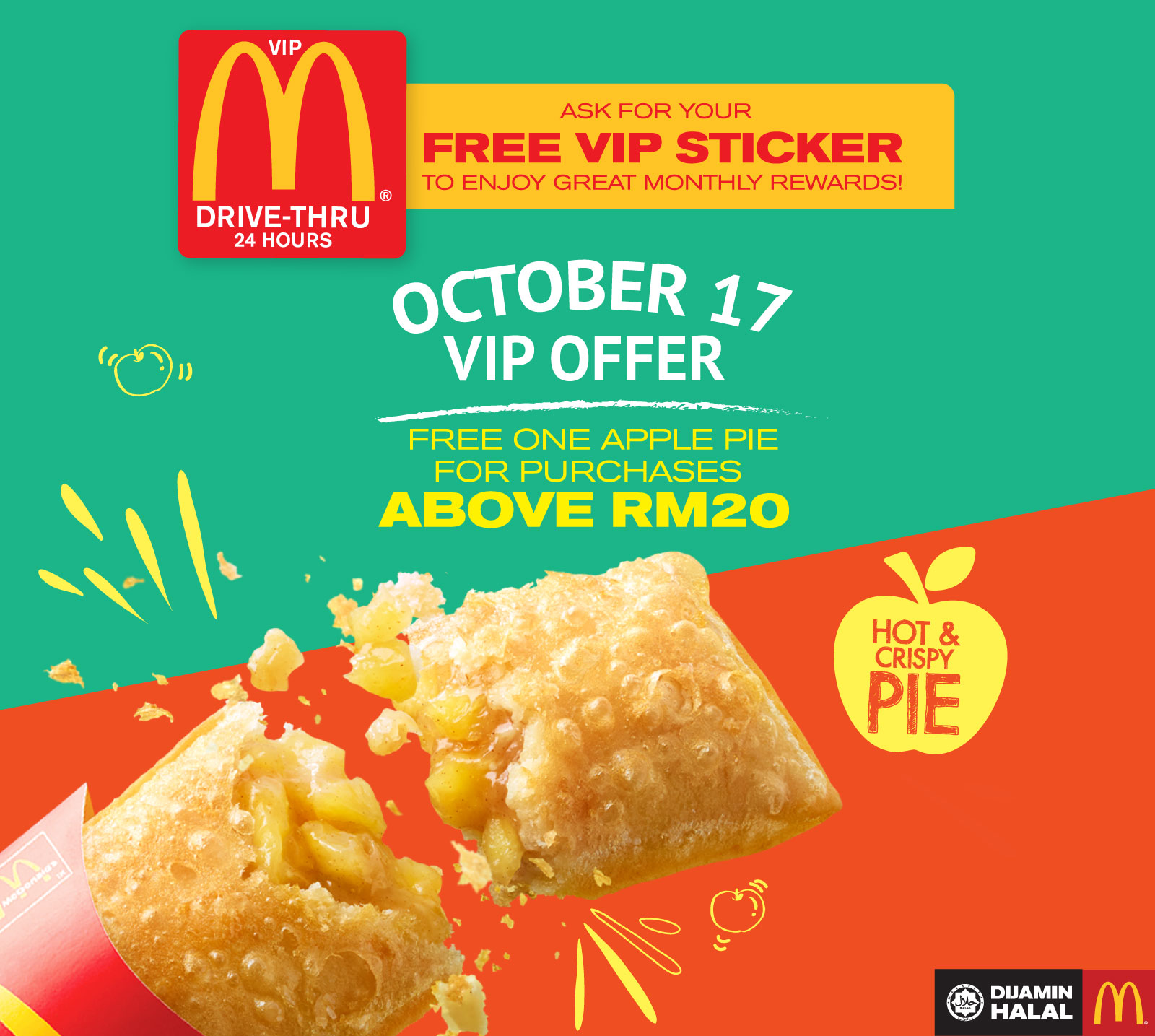 McD Drive Thru VIP FREE Apple Pie Minimum Purchase RM20 Until 31 October 2017