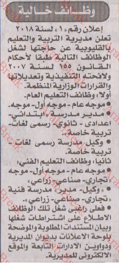 وظائف الاخبار 20/7/2018