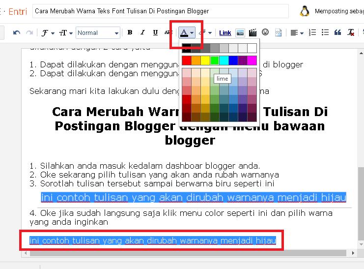 Cara Merubah Warna Teks Font Tulisan Di Postingan Blogger – Jagoan ...