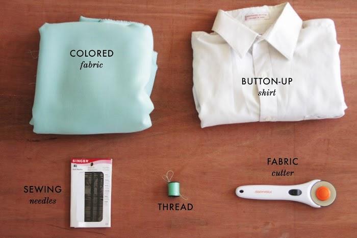 cómo trasformar una camisa de hombre en una blusa color block