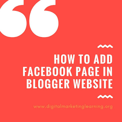 How to Add Facebook Page Widget on Blogger Website?