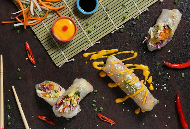 Vietnamese Crunchy Vegetable Julienne rolls with mango reduction