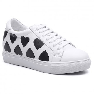 Women Height Increasing Shoes Leather Hidden Heel Shoes Elevator Sneakers 7 CM /2.76 Inches
