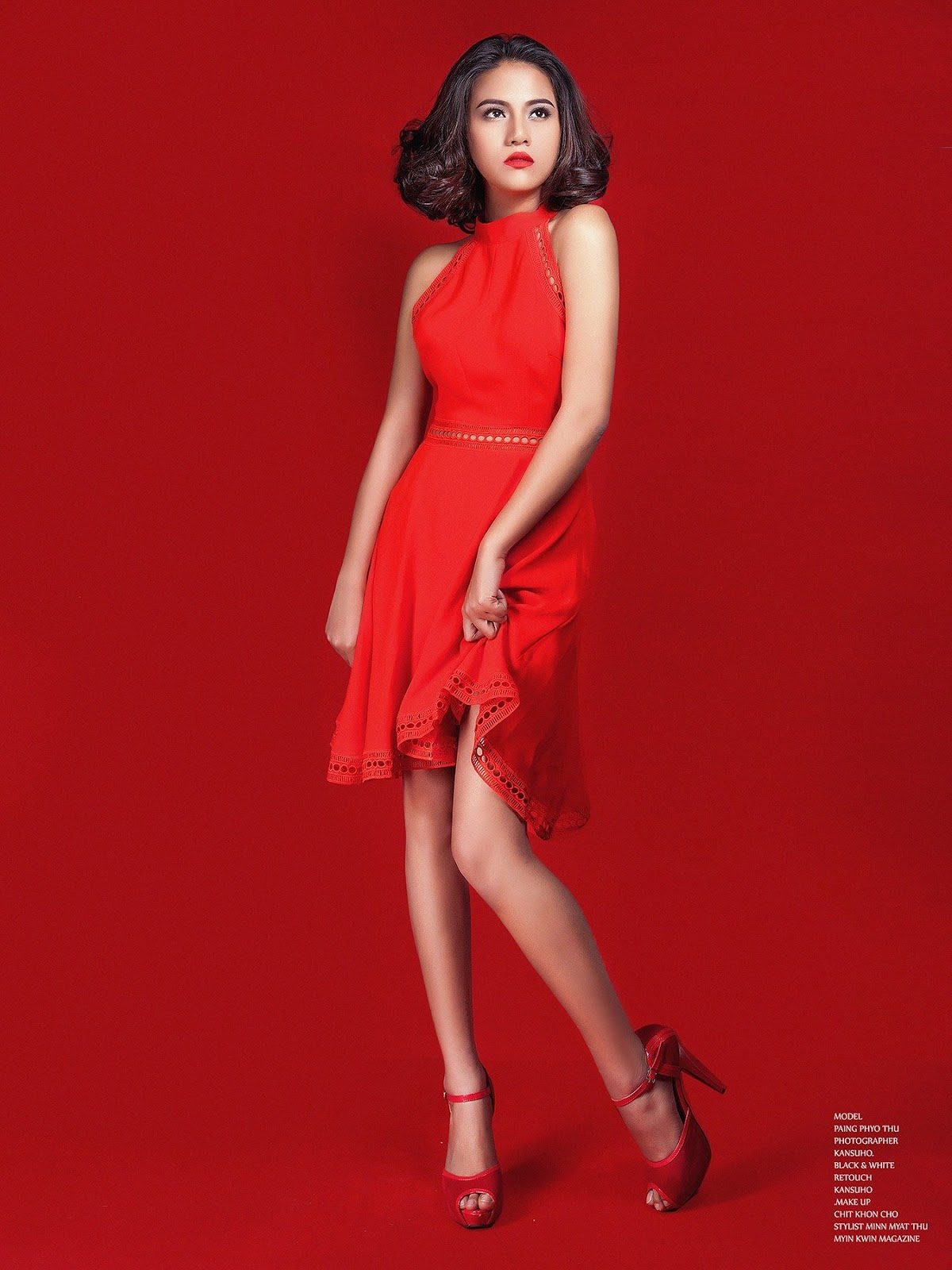 Red Girl Paing Pyo Thu In Role Model Style For Myin Kwin Magazine