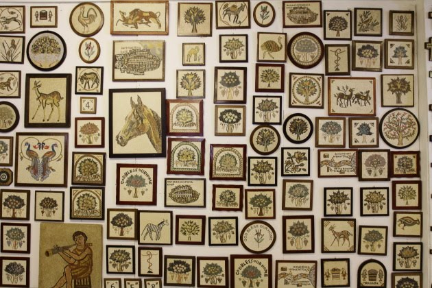Mosaic wall offers rich shopping avenues at Madaba, Jordan