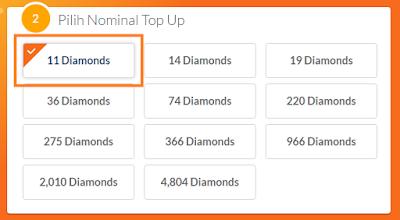Memilih Nominal Diamonds Mobile Legends