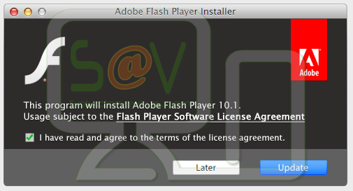 "mensaje ""This program will install Adobe Flash Player 10.1."""