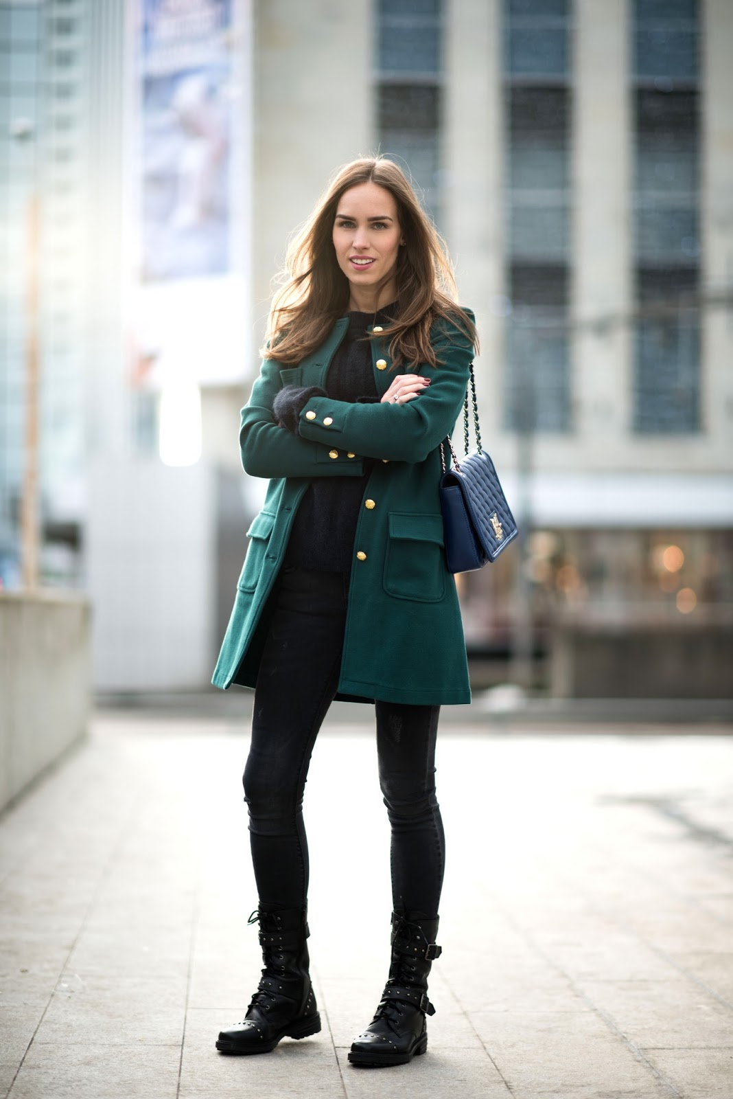 green coat combat boots outfit