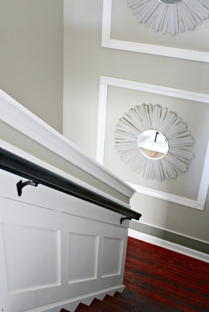 trim on tall staircase