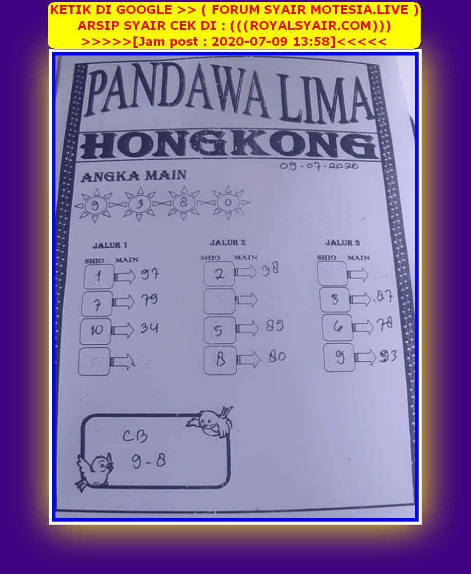Kode syair Hongkong Kamis 9 Juli 2020 82