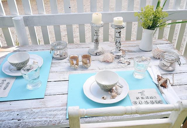 sommerlich mediterrane tischdekoration white vintage. Black Bedroom Furniture Sets. Home Design Ideas