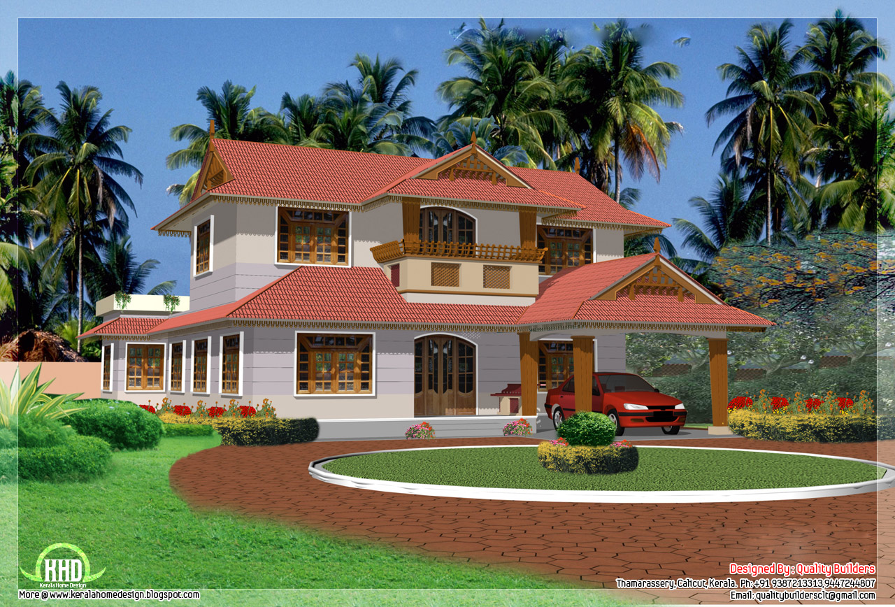 4 bedroom traditional kerala house design for 4 bedroom house designs in kerala
