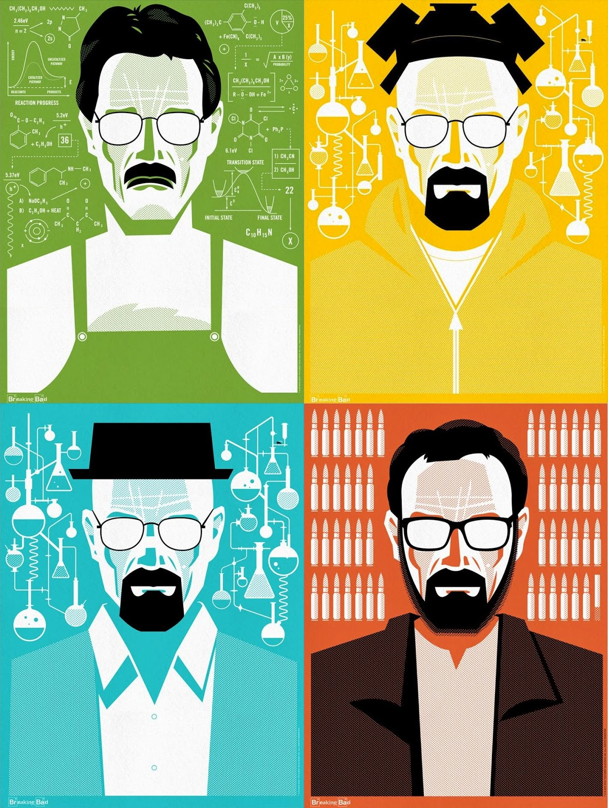 the blot says breaking bad the many faces of walter white screen print series by ty mattson. Black Bedroom Furniture Sets. Home Design Ideas